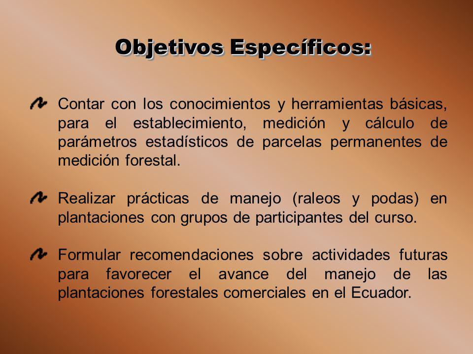 Objetivos Específicos: Contar con los conocimientos y herramientas básicas, para el establecimiento, medición y cálculo de parámetros estadísticos de parcelas permanentes de medición forestal.