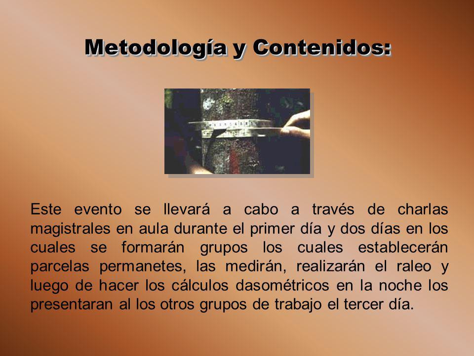Metodología y Contenidos: Este evento se llevará a cabo a través de charlas magistrales en aula durante el primer día y dos días en los cuales se form