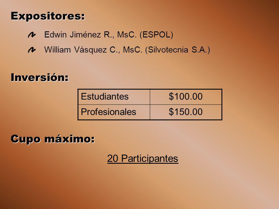 Inversión: Estudiantes$100.00 Profesionales$150.00 Expositores: Edwin Jiménez R., MsC. (ESPOL) William Vásquez C., MsC. (Silvotecnia S.A.) Cupo máximo