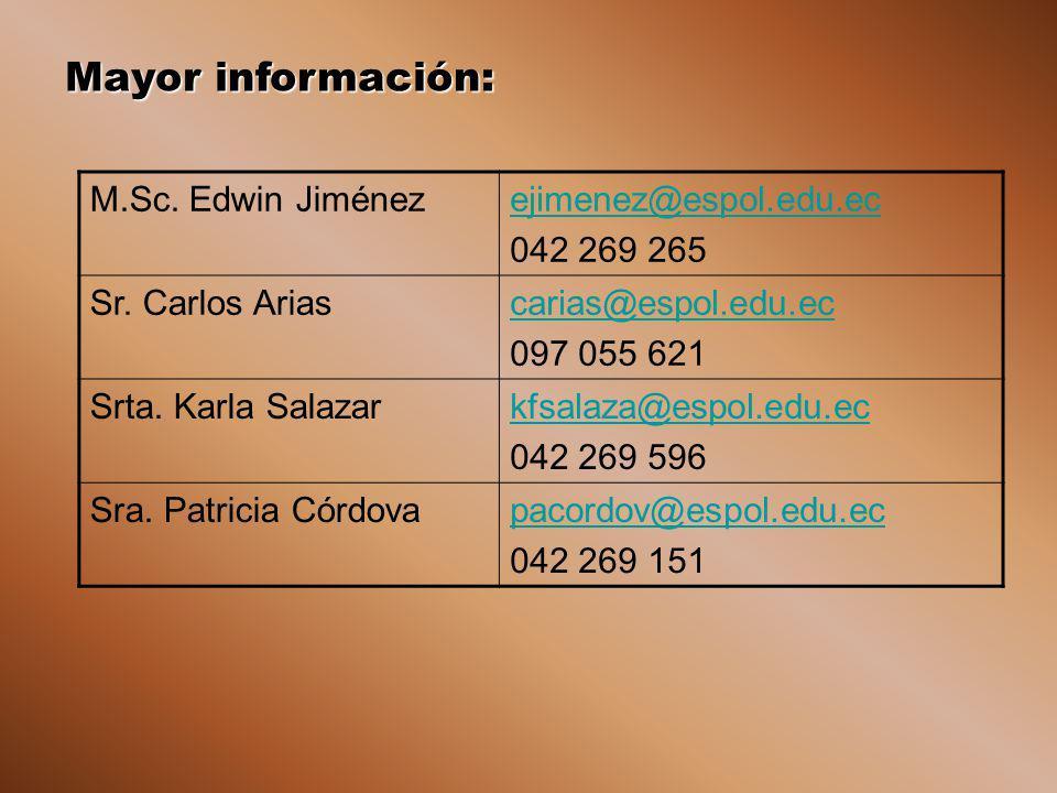 Mayor información: M.Sc. Edwin Jiménezejimenez@espol.edu.ec 042 269 265 Sr. Carlos Ariascarias@espol.edu.ec 097 055 621 Srta. Karla Salazarkfsalaza@es