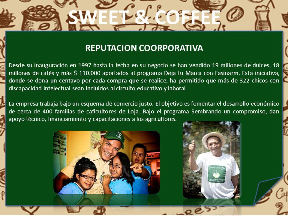REPUTACION COORPORATIVA Desde su inauguración en 1997 hasta la fecha en su negocio se han vendido 19 millones de dulces, 18 millones de cafés y más $