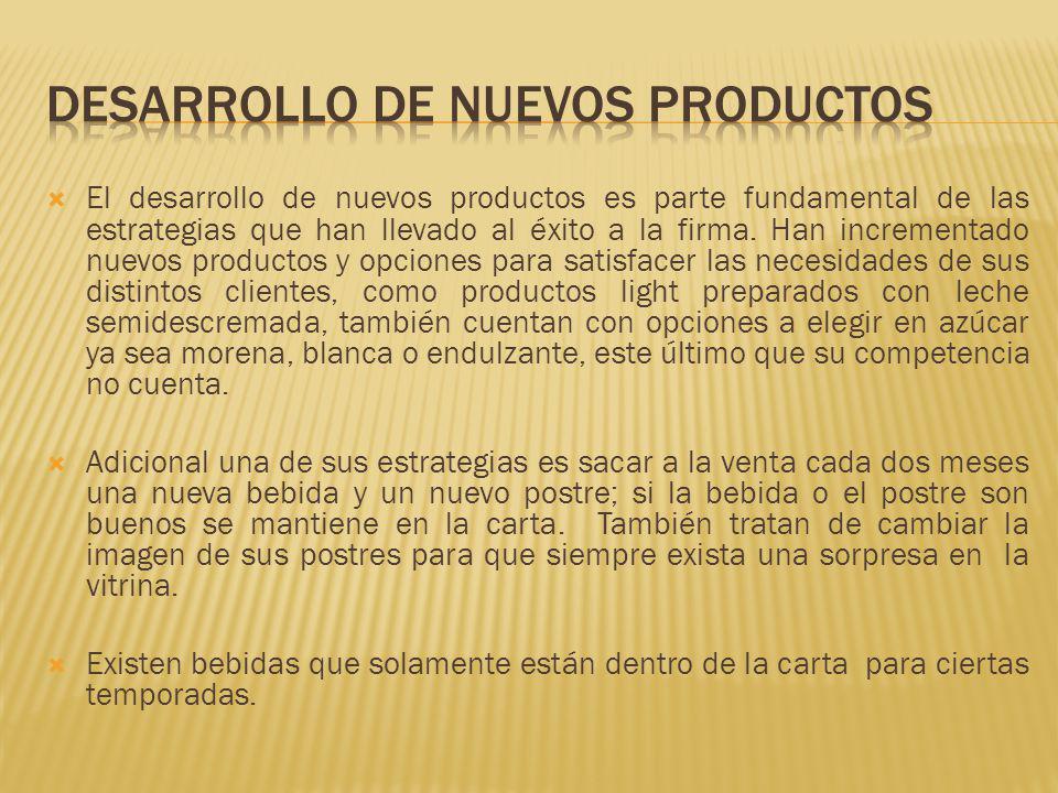 El desarrollo de nuevos productos es parte fundamental de las estrategias que han llevado al éxito a la firma. Han incrementado nuevos productos y opc