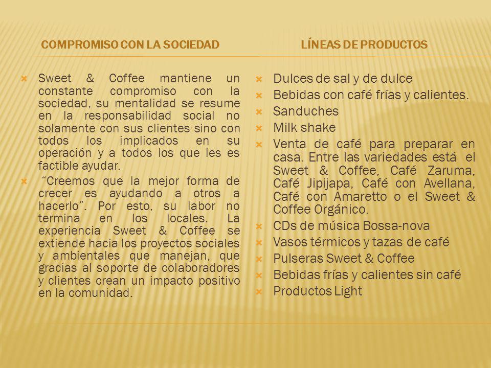 COMPROMISO CON LA SOCIEDAD Sweet & Coffee mantiene un constante compromiso con la sociedad, su mentalidad se resume en la responsabilidad social no so