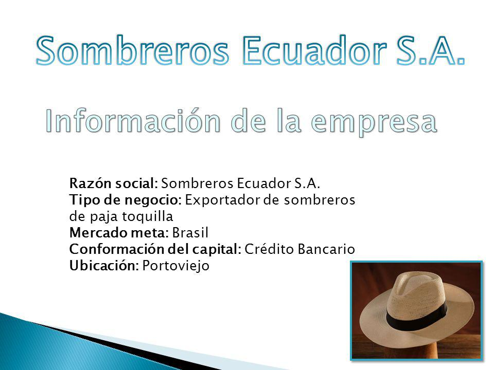 Somos una empresa dedica a la exportación de sombreros de paja toquilla, nuestro objetivo es resaltar la artesanía del Ecuador dando a conocer nuestro producto, con el fin de conservar la tradición y cultura del uso del sombrero de nuestro país para el mundo en cualquier evento.
