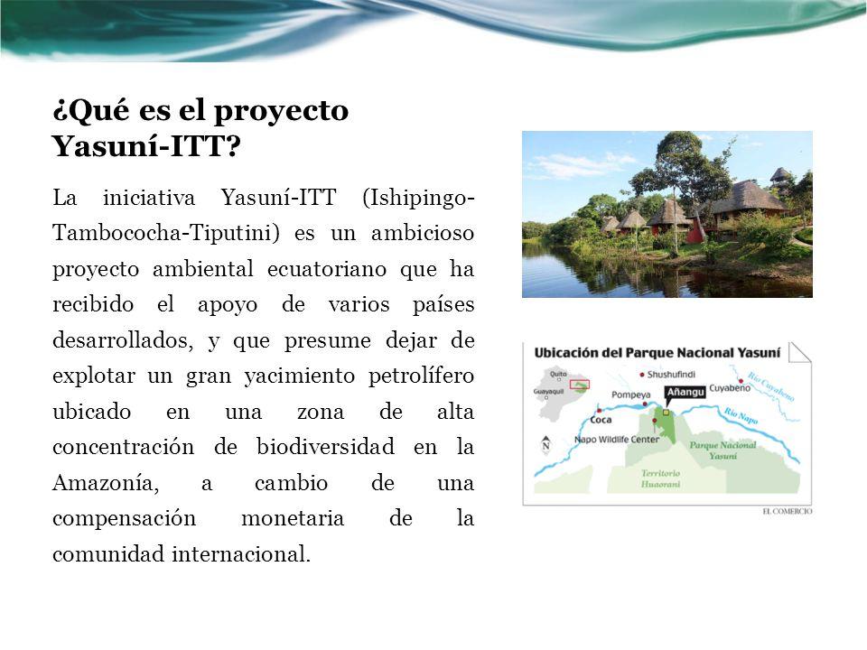 Resumen de la propuesta El objetivo de la propuesta es resolver de manera creativa una amenaza como es la extracción del crudo del proyecto ITT localizado en un sitio de alta vulnerabilidad: el Parque Nacional Yasuní, con un efecto positivo en la conservación de la biodiversidad, la reducción de emisiones del CO2 y el respeto a los derechos de los pueblos indígenas y su forma de vida.