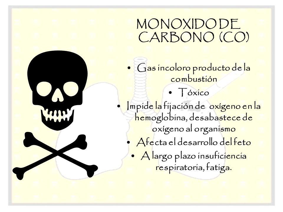 MONOXIDO DE CARBONO (CO) Gas incoloro producto de la combustión Tóxico Impide la fijación de oxígeno en la hemoglobina, desabastece de oxígeno al orga