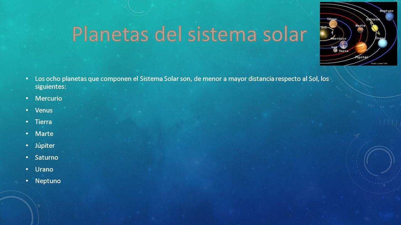 Los ocho planetas que componen el Sistema Solar son, de menor a mayor distancia respecto al Sol, los siguientes: Mercurio Venus Tierra Marte Júpiter S