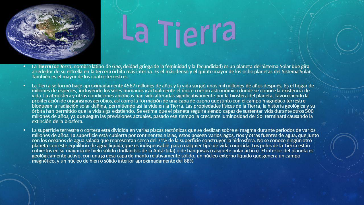 La Tierra (de Terra, nombre latino de Gea, deidad griega de la feminidad y la fecundidad) es un planeta del Sistema Solar que gira alrededor de su est