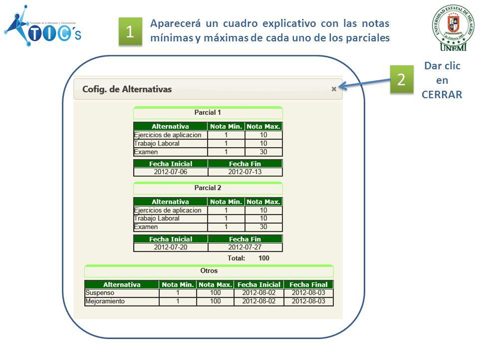 Aparecerá un cuadro explicativo con las notas mínimas y máximas de cada uno de los parciales 2 2 Dar clic en CERRAR 1 1