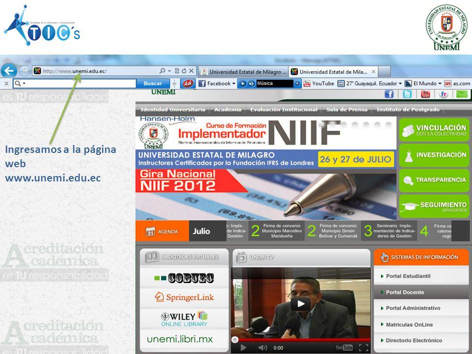 Ingresamos a la página web www.unemi.edu.ec