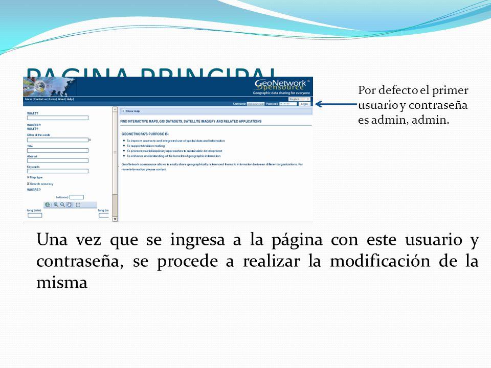 PAGINA PRINCIPAL Una vez que se ingresa a la página con este usuario y contraseña, se procede a realizar la modificación de la misma Por defecto el primer usuario y contraseña es admin, admin.