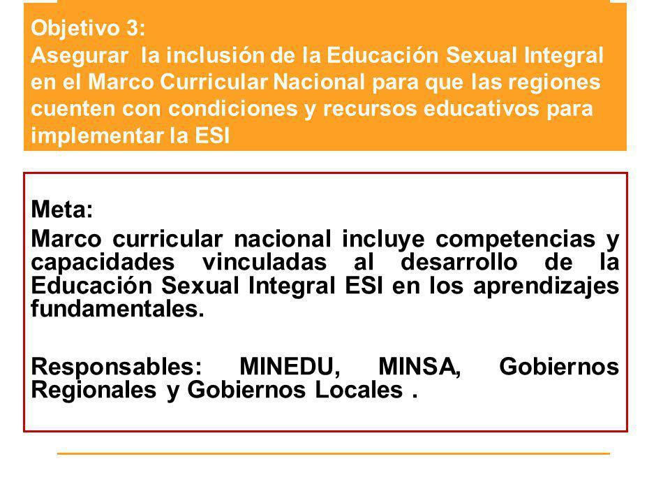 Objetivo 3: Asegurar la inclusión de la Educación Sexual Integral en el Marco Curricular Nacional para que las regiones cuenten con condiciones y recu
