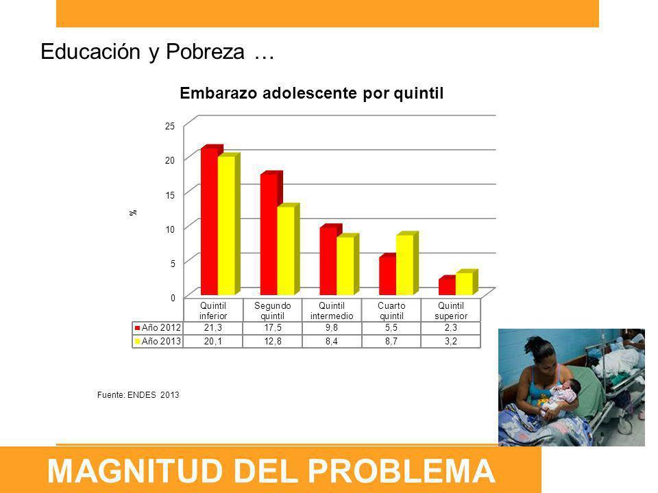 Fuente: ENDES 2013 Periodo Ya son madres Embarazadas con el primer hijo Total alguna vez embarazada 201310,5%3,5%13.9% 200010,7%2,3%13,0% Evolución del Embarazo y Maternidad en Adolescentes (15 a 19 años) 2000-2013 Se identifican dos tipos de escenarios geográficos donde el embarazo en adolescentes se concentra en mayor proporción: 1)zonas rurales en la Selva de los departamentos de Loreto, Madre de Dios, Ucayali, San Martín y Amazonas.