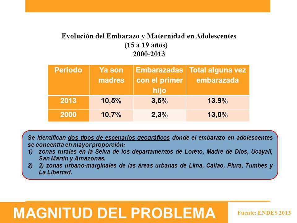 Fuente: ENDES 2013 Periodo Ya son madres Embarazadas con el primer hijo Total alguna vez embarazada 201310,5%3,5%13.9% 200010,7%2,3%13,0% Evolución de