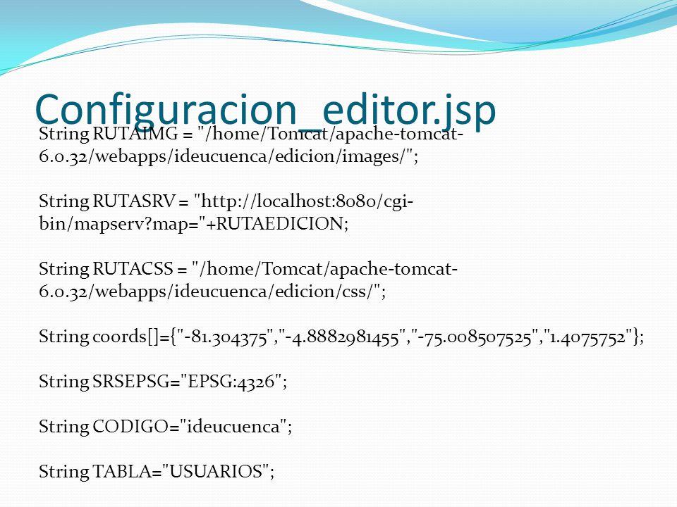 Configuracion_editor.jsp String RUTAIMG = /home/Tomcat/apache-tomcat- 6.0.32/webapps/ideucuenca/edicion/images/ ; String RUTASRV = http://localhost:8080/cgi- bin/mapserv map= +RUTAEDICION; String RUTACSS = /home/Tomcat/apache-tomcat- 6.0.32/webapps/ideucuenca/edicion/css/ ; String coords[]={ -81.304375 , -4.8882981455 , -75.008507525 , 1.4075752 }; String SRSEPSG= EPSG:4326 ; String CODIGO= ideucuenca ; String TABLA= USUARIOS ;