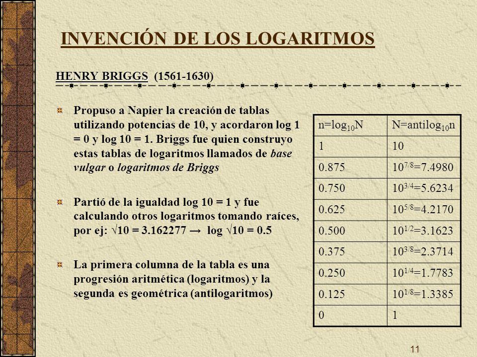 11 INVENCIÓN DE LOS LOGARITMOS HENRY BRIGGS HENRY BRIGGS (1561-1630) Propuso a Napier la creación de tablas utilizando potencias de 10, y acordaron log 1 = 0 y log 10 = 1.