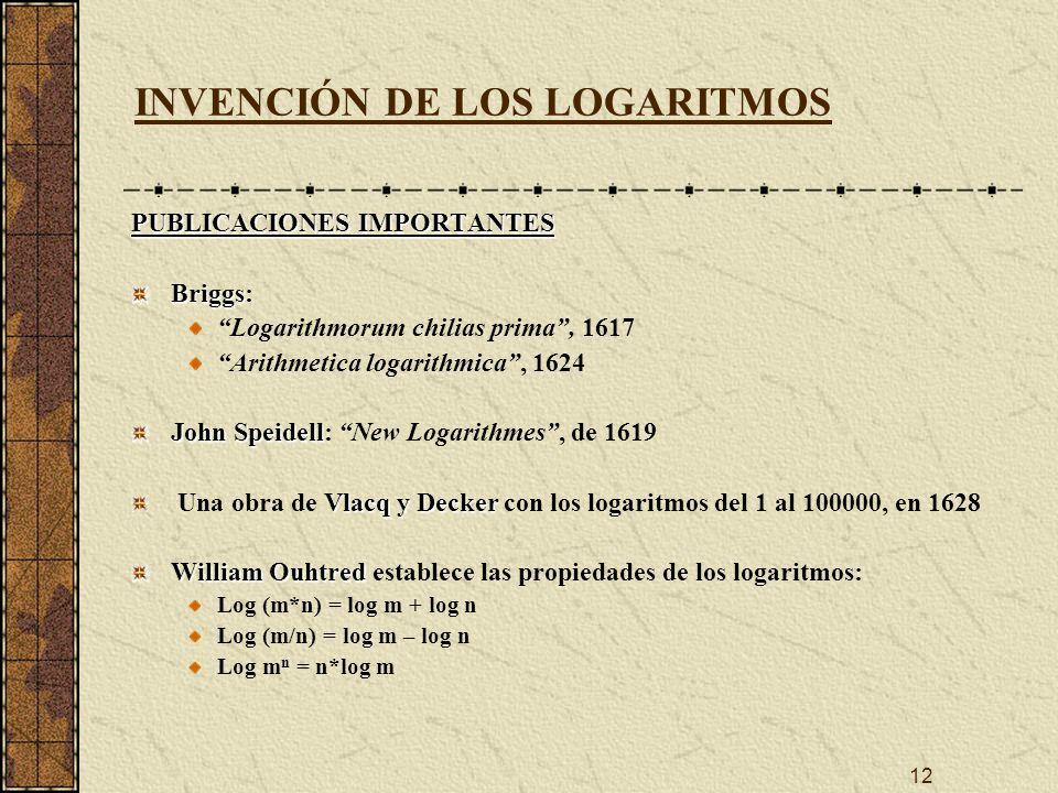 12 INVENCIÓN DE LOS LOGARITMOS PUBLICACIONES IMPORTANTES Briggs Briggs: Logarithmorum chilias prima, 1617 Arithmetica logarithmica, 1624 John Speidell John Speidell: New Logarithmes, de 1619 Vlacq y Decker Una obra de Vlacq y Decker con los logaritmos del 1 al 100000, en 1628 William Ouhtred William Ouhtred establece las propiedades de los logaritmos: Log (m*n) = log m + log n Log (m/n) = log m – log n Log m n = n*log m