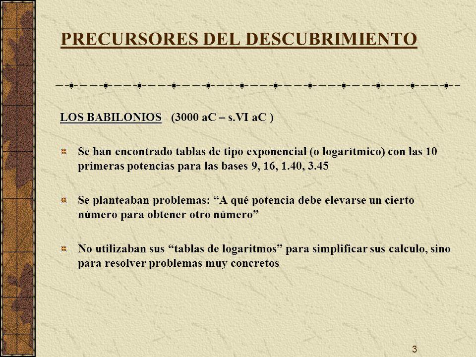 14 INVENCIÓN DE LOS LOGARITMOS DIFERENCIAS ENTRE LOGARITMOS DE NAPIER Y BÜRGI Napier toma 1 - 1/10 7, y Bürgi toma 1 + 1/10 4, que está muy cercano al verdadero valor del número e (base de los actuales logaritmos neperianos) (1 + 1/10 4 ) 10^4 = 2.7184593…; e = 2.718281828… Napier multiplica en sus tablas todos los términos por 10 7, mientras que Bürgi lo hace por 10 8.