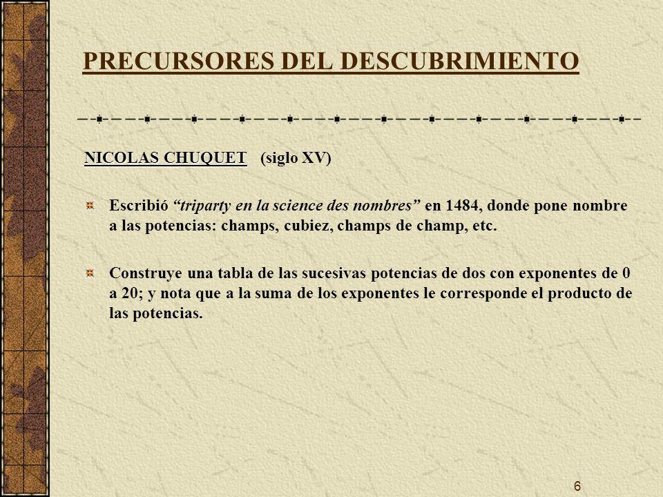 7 PRECURSORES DEL DESCUBRIMIENTO MIGUEL STIFEL MIGUEL STIFEL (1487-1567) Extiende las tablas de Chuquet incluyendo las potencias negativas -1, -2, -3, de dos En 1544 publica Arithmetica integra, donde introduce a m * a n = a m+n a m * a n = a m+n para n y m racionales Observa la correspondencia entre las progresiones aritméticas y geométricas: Progresión aritméticaProgresión geométrica adiciónmultiplicación sustracióndivisión multiplicaciónpotencia divisiónextracción de raíces