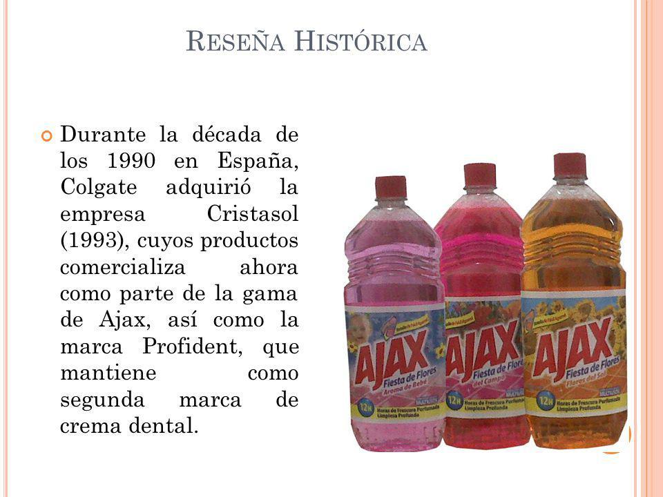 Durante la década de los 1990 en España, Colgate adquirió la empresa Cristasol (1993), cuyos productos comercializa ahora como parte de la gama de Aja