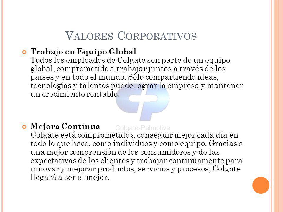 Trabajo en Equipo Global Todos los empleados de Colgate son parte de un equipo global, comprometido a trabajar juntos a través de los países y en todo