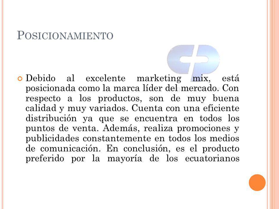 P OSICIONAMIENTO Debido al excelente marketing mix, está posicionada como la marca líder del mercado. Con respecto a los productos, son de muy buena c
