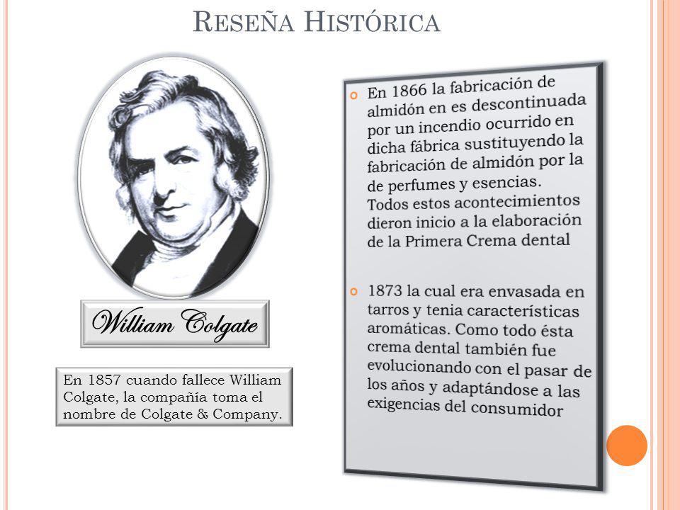 William Colgate R ESEÑA H ISTÓRICA En 1857 cuando fallece William Colgate, la compañía toma el nombre de Colgate & Company.