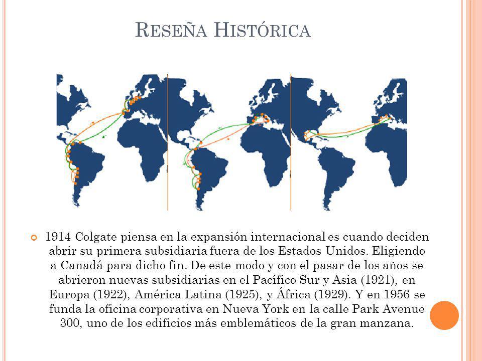 1914 Colgate piensa en la expansión internacional es cuando deciden abrir su primera subsidiaria fuera de los Estados Unidos. Eligiendo a Canadá para