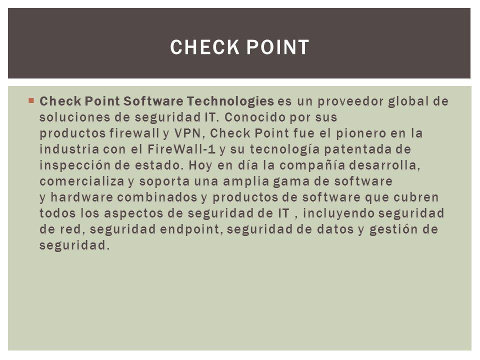 Check Point Software Technologies es un proveedor global de soluciones de seguridad IT. Conocido por sus productos firewall y VPN, Check Point fue el