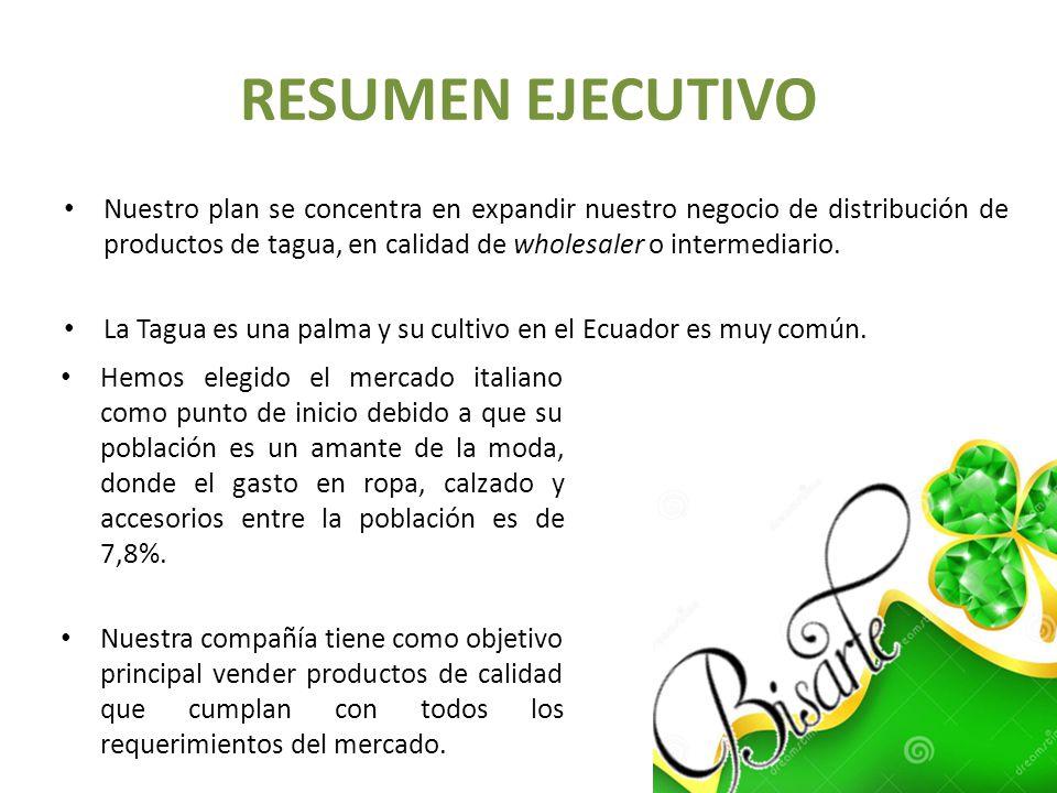 RESUMEN EJECUTIVO Nuestro plan se concentra en expandir nuestro negocio de distribución de productos de tagua, en calidad de wholesaler o intermediari