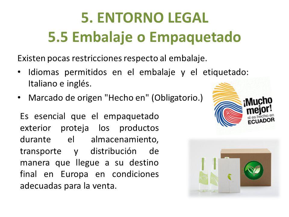 Existen pocas restricciones respecto al embalaje. Idiomas permitidos en el embalaje y el etiquetado: Italiano e inglés. Marcado de origen