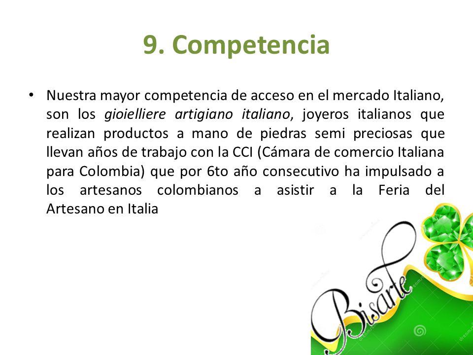 9. Competencia Nuestra mayor competencia de acceso en el mercado Italiano, son los gioielliere artigiano italiano, joyeros italianos que realizan prod