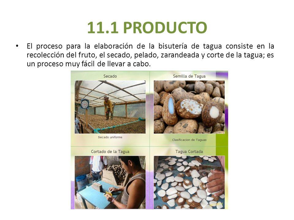 11.1 PRODUCTO El proceso para la elaboración de la bisutería de tagua consiste en la recolección del fruto, el secado, pelado, zarandeada y corte de l