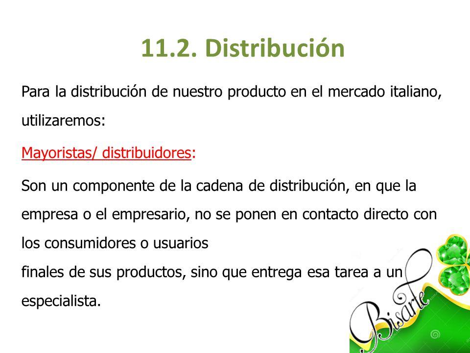 Para la distribución de nuestro producto en el mercado italiano, utilizaremos: Mayoristas/ distribuidores: Son un componente de la cadena de distribuc