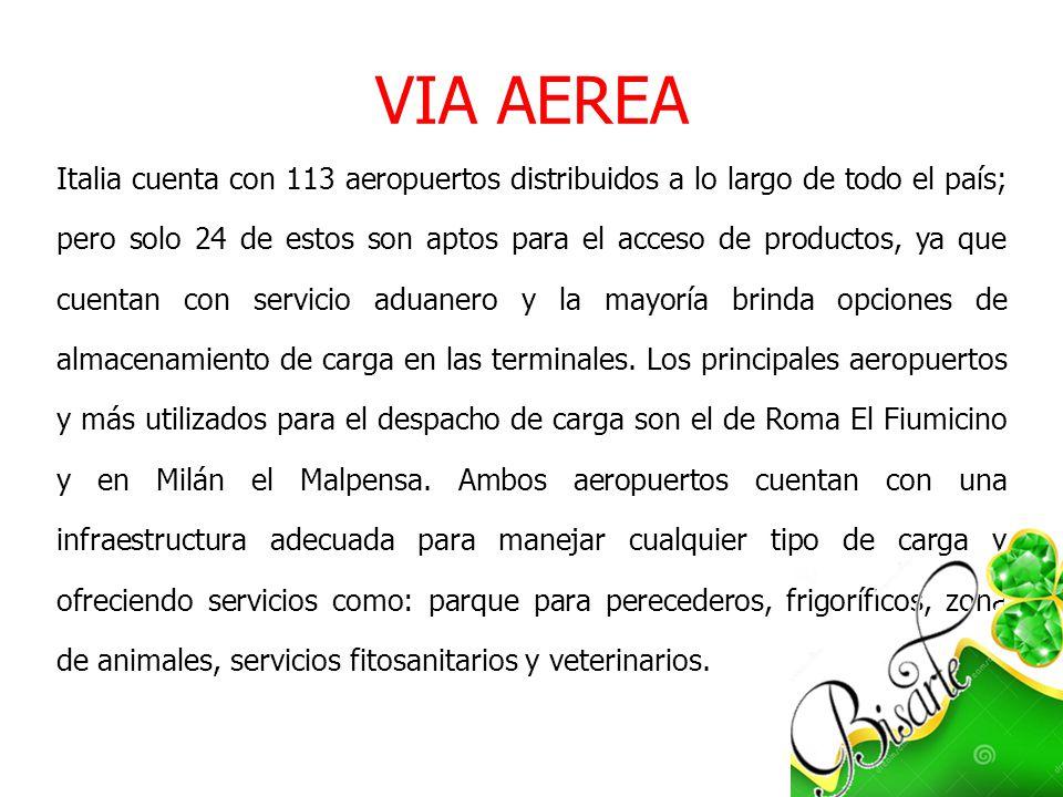 VIA AEREA Italia cuenta con 113 aeropuertos distribuidos a lo largo de todo el país; pero solo 24 de estos son aptos para el acceso de productos, ya q