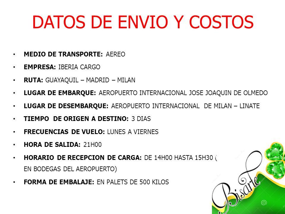 DATOS DE ENVIO Y COSTOS MEDIO DE TRANSPORTE: AEREO EMPRESA: IBERIA CARGO RUTA: GUAYAQUIL – MADRID – MILAN LUGAR DE EMBARQUE: AEROPUERTO INTERNACIONAL