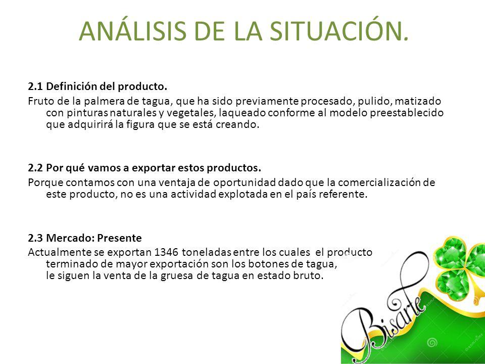 ANÁLISIS DE LA SITUACIÓN. 2.1 Definición del producto. Fruto de la palmera de tagua, que ha sido previamente procesado, pulido, matizado con pinturas