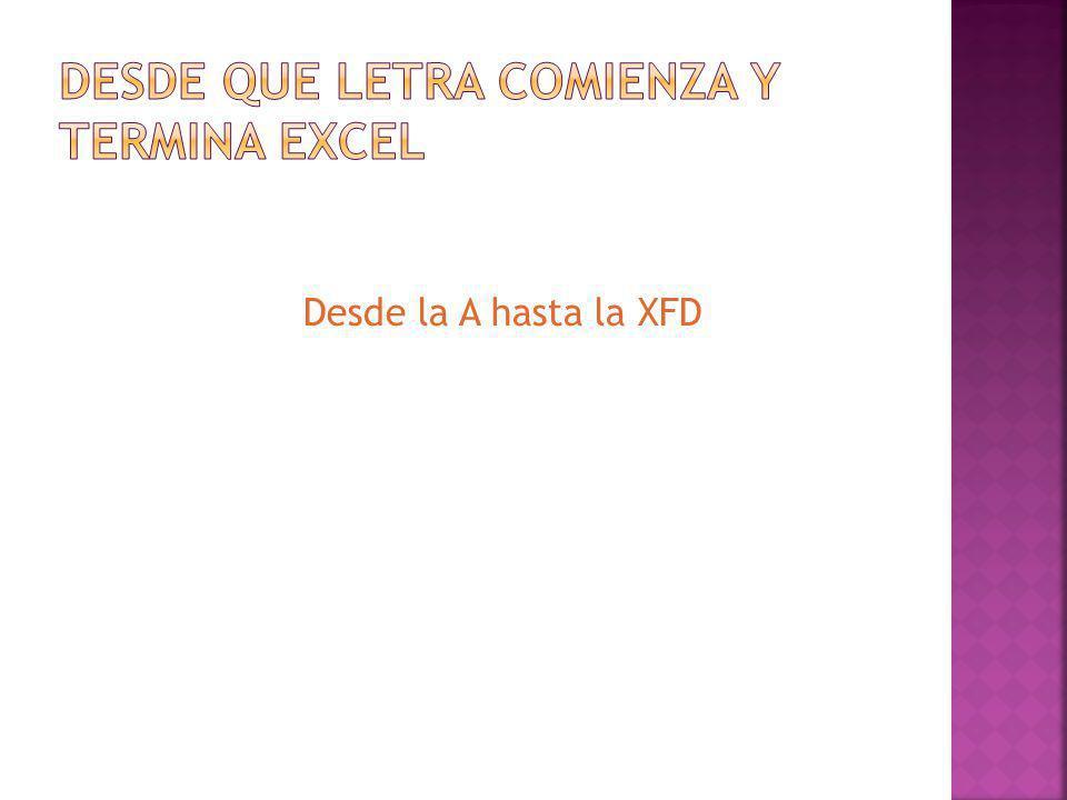 Desde la A hasta la XFD