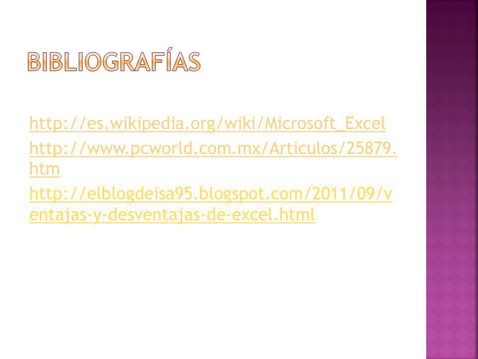 http://es.wikipedia.org/wiki/Microsoft_Excel http://www.pcworld.com.mx/Articulos/25879. htm http://elblogdeisa95.blogspot.com/2011/09/v entajas-y-desv