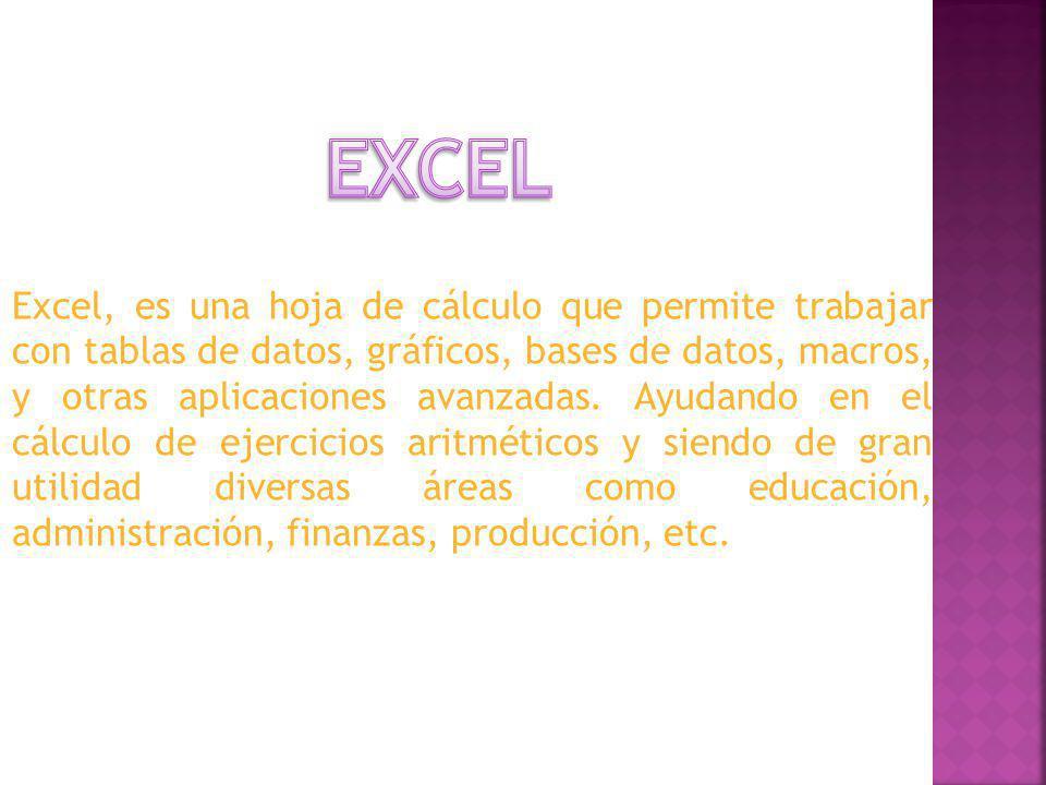 Excel, es una hoja de cálculo que permite trabajar con tablas de datos, gráficos, bases de datos, macros, y otras aplicaciones avanzadas. Ayudando en