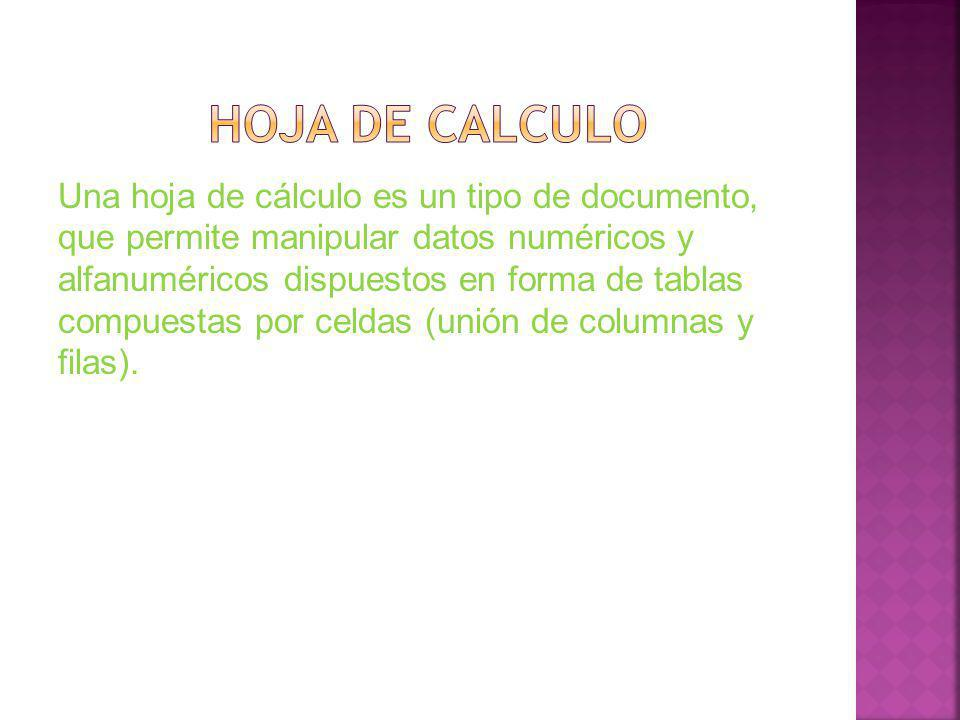 Una hoja de cálculo es un tipo de documento, que permite manipular datos numéricos y alfanuméricos dispuestos en forma de tablas compuestas por celdas