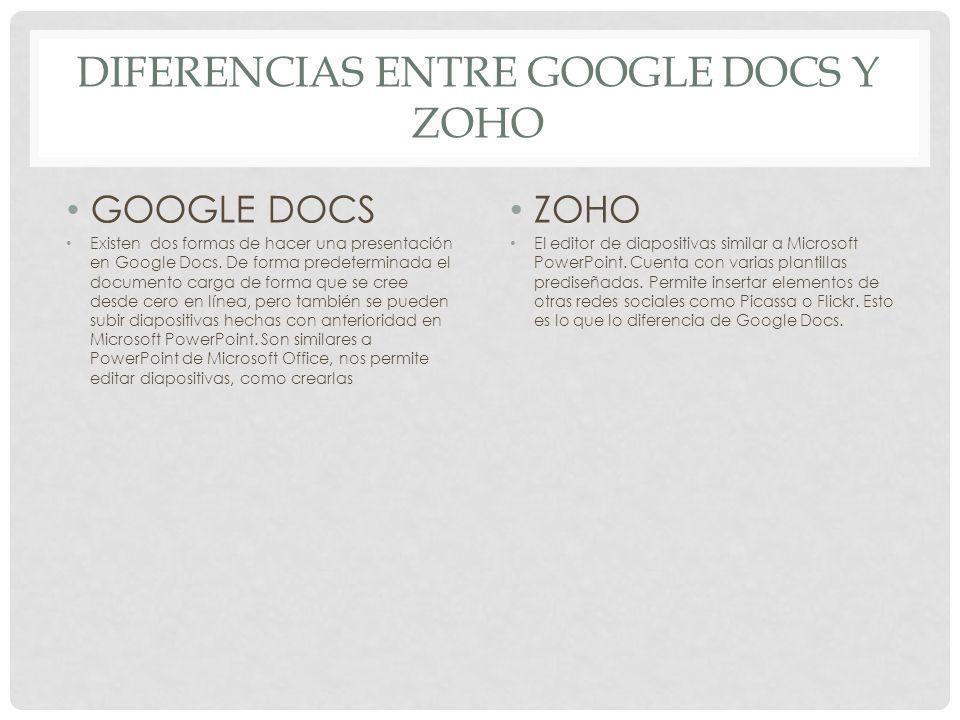 GOOGLE DOCS Existen dos formas de hacer una presentación en Google Docs. De forma predeterminada el documento carga de forma que se cree desde cero en