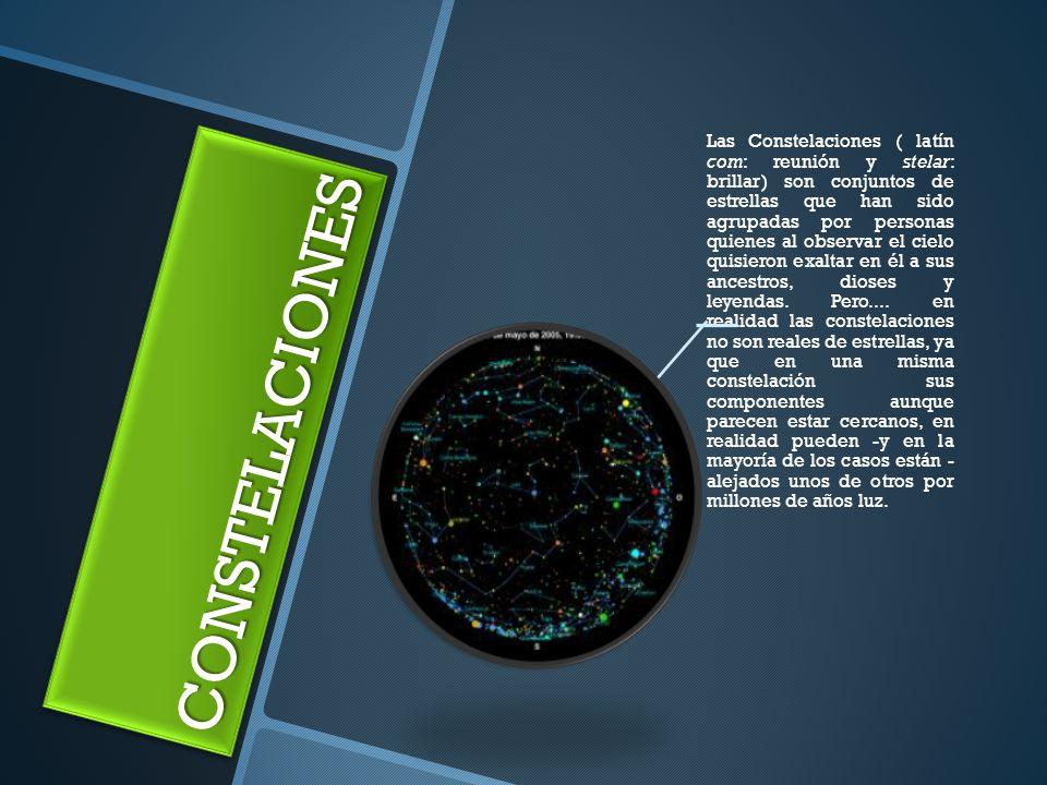 CONSTELACIONESCONSTELACIONES Las Constelaciones ( latín com: reunión y stelar: brillar) son conjuntos de estrellas que han sido agrupadas por personas