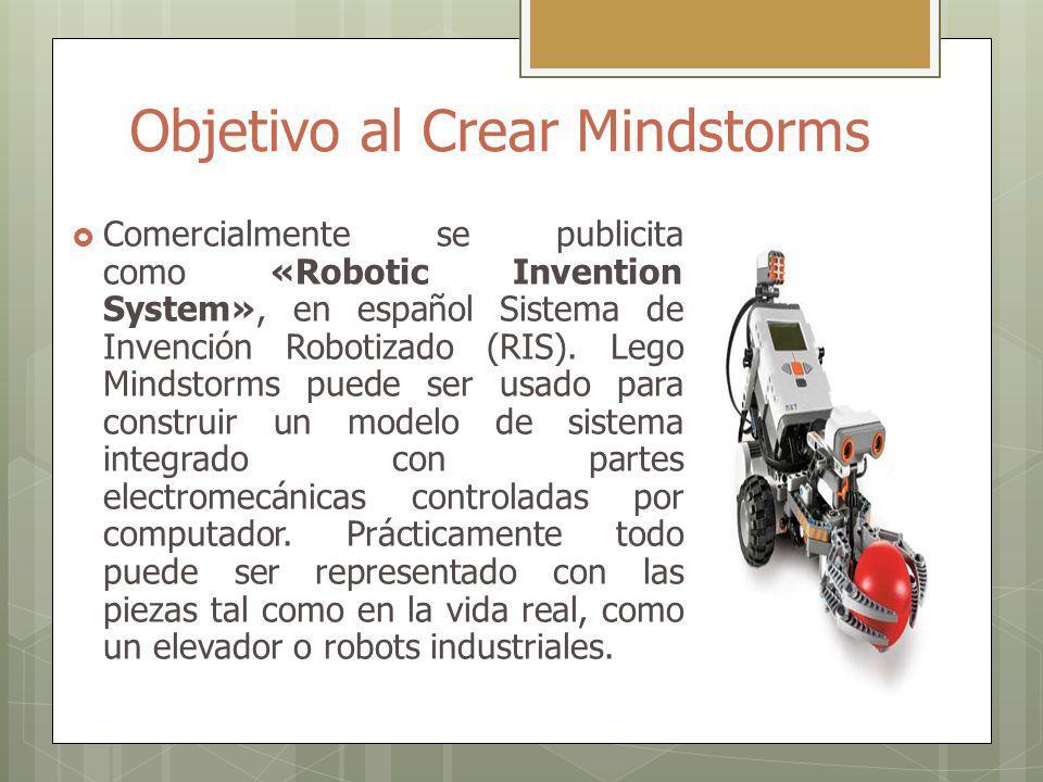 Objetivo al Crear Mindstorms Comercialmente se publicita como «Robotic Invention System», en español Sistema de Invención Robotizado (RIS).