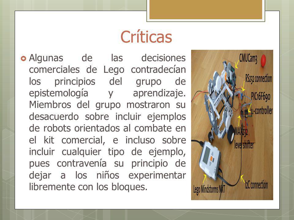 Críticas Algunas de las decisiones comerciales de Lego contradecían los principios del grupo de epistemología y aprendizaje. Miembros del grupo mostra