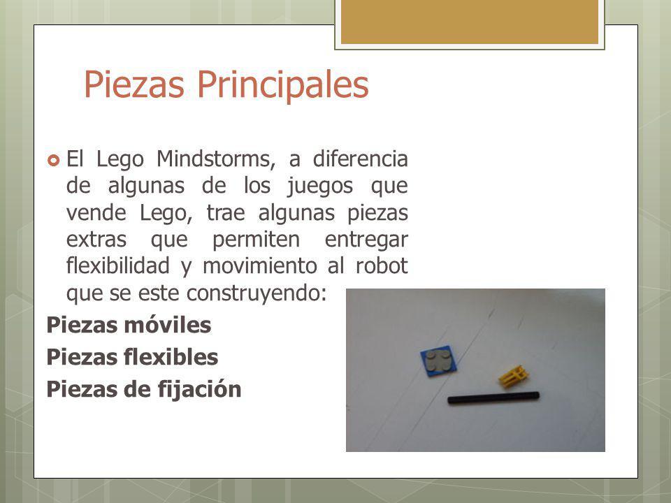 Piezas Principales El Lego Mindstorms, a diferencia de algunas de los juegos que vende Lego, trae algunas piezas extras que permiten entregar flexibil