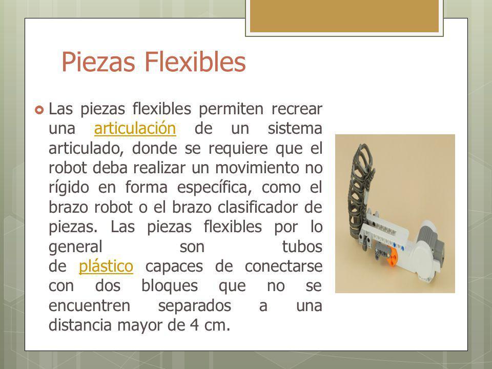 Piezas Flexibles Las piezas flexibles permiten recrear una articulación de un sistema articulado, donde se requiere que el robot deba realizar un movimiento no rígido en forma específica, como el brazo robot o el brazo clasificador de piezas.