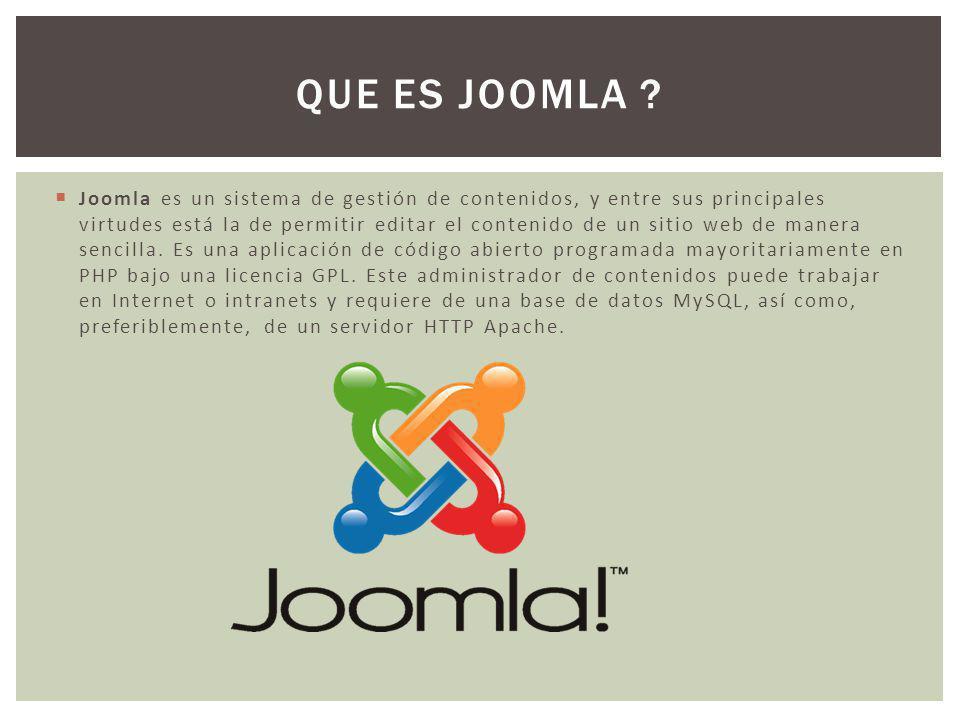 Joomla es un sistema de gestión de contenidos, y entre sus principales virtudes está la de permitir editar el contenido de un sitio web de manera sencilla.