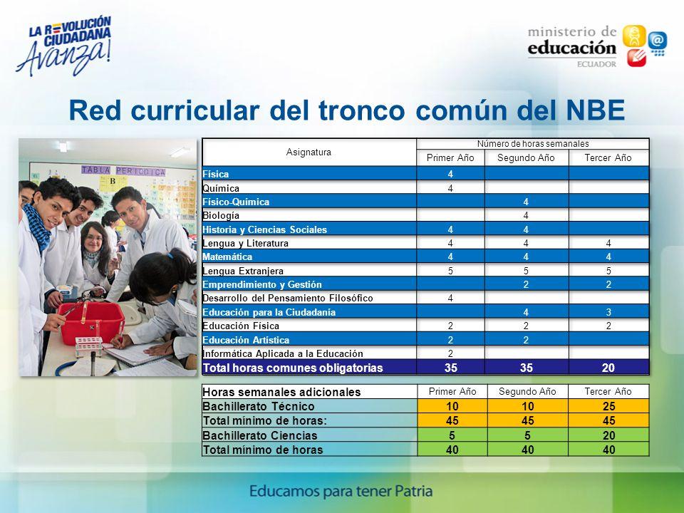 Red curricular del tronco común del NBE Horas semanales adicionales Primer AñoSegundo AñoTercer Año Bachillerato Técnico10 25 Total mínimo de horas:45