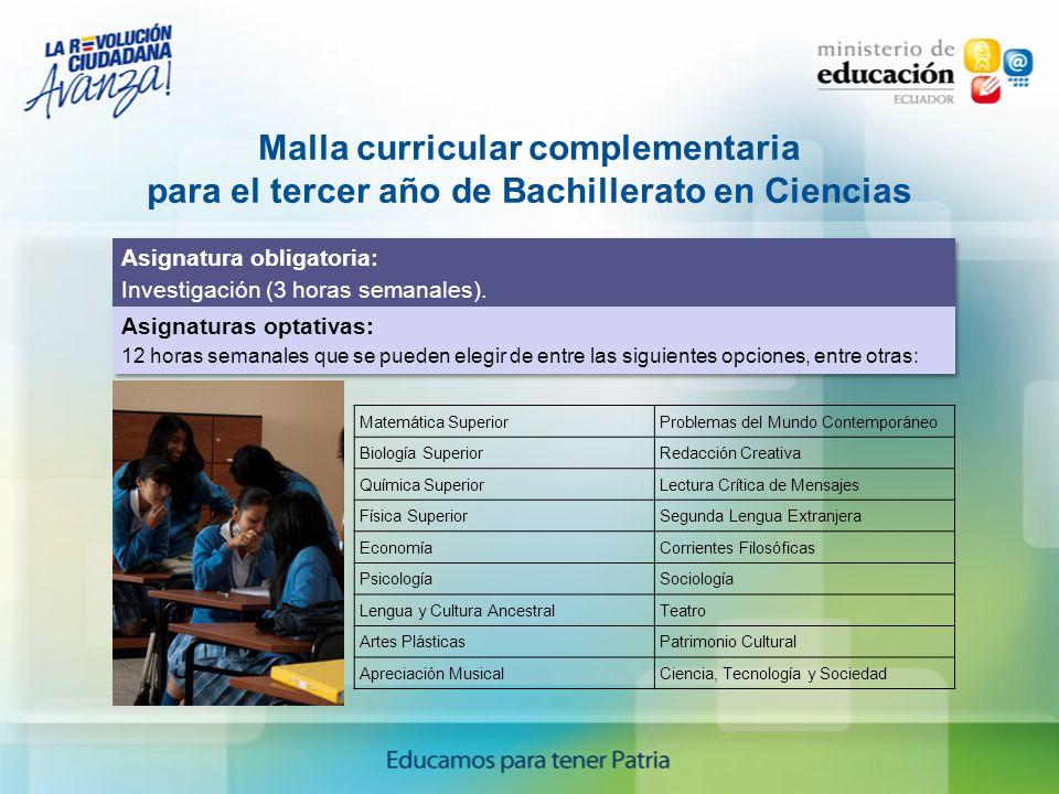 Malla curricular complementaria para el tercer año de Bachillerato en Ciencias Matemática Superior Problemas del Mundo Contemporáneo Biología Superior
